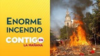 Incendio afecta al centro de Santiago - Crisis en Chile