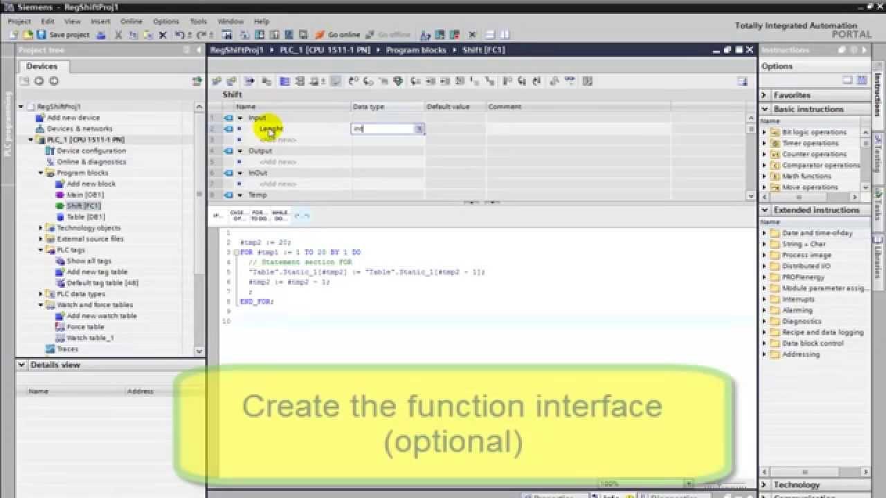 SIMATIC STEP7 TIA PORTAL - How to porgram a simple Shift Register using SCL