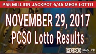 PCSO Lotto Results Today November 29, 2017 (6/55, 6/45, 4D, Swertres & EZ2)