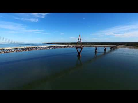 Aerial view of Deh Cho Bridge - Fort Providence Northwest Territories Canada