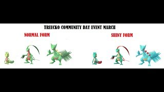 Treecko! Pokemon Go Community day - Evolves into Sceptile with Frenzy Plant