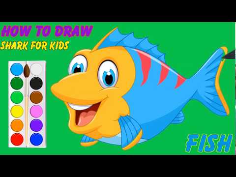 How To Draw   How To Drawing Fish, Coloring Pages For Kids   Learn To Draw For Kids