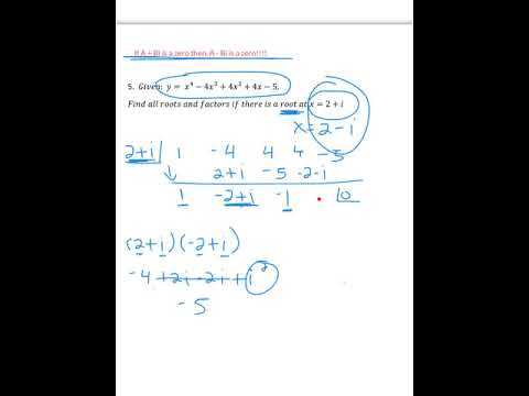 Use Synthetic Division With A Complex Number