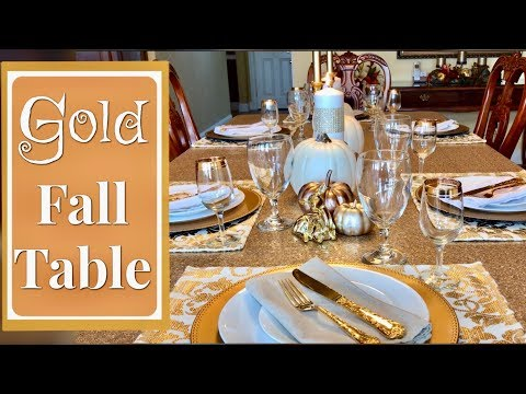 Gold And White Fall Tablescape Fall Table Centerpiece