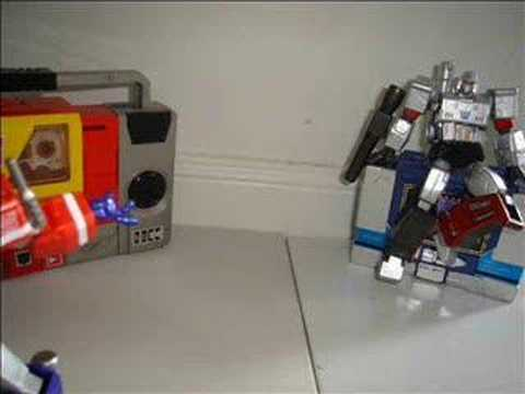 Breakdance contest between Optimus and Megatron