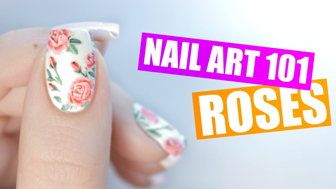 How To Paint Realistic Roses on Your Nails | NAIL ART 101 - YouTube