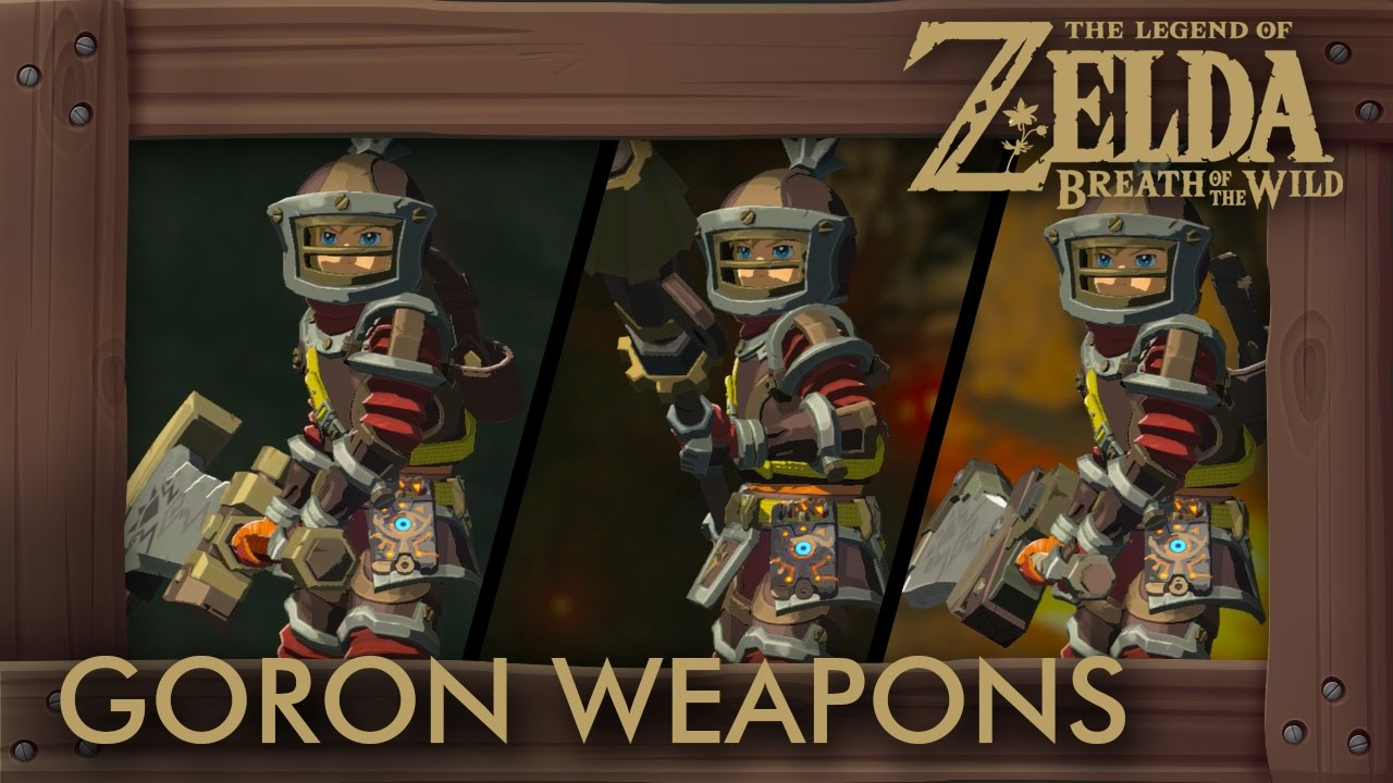 Breath Of The Wild Climbing Gear >> Zelda Breath of the Wild - All Goron Weapons (Compete Set Location) - YouTube