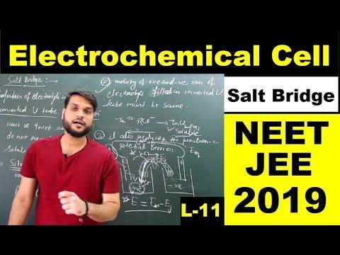L11 Electrochemical cellSalt Bridge  NEET JEE AIIMS 2019 Electrochemistry By A.Arora