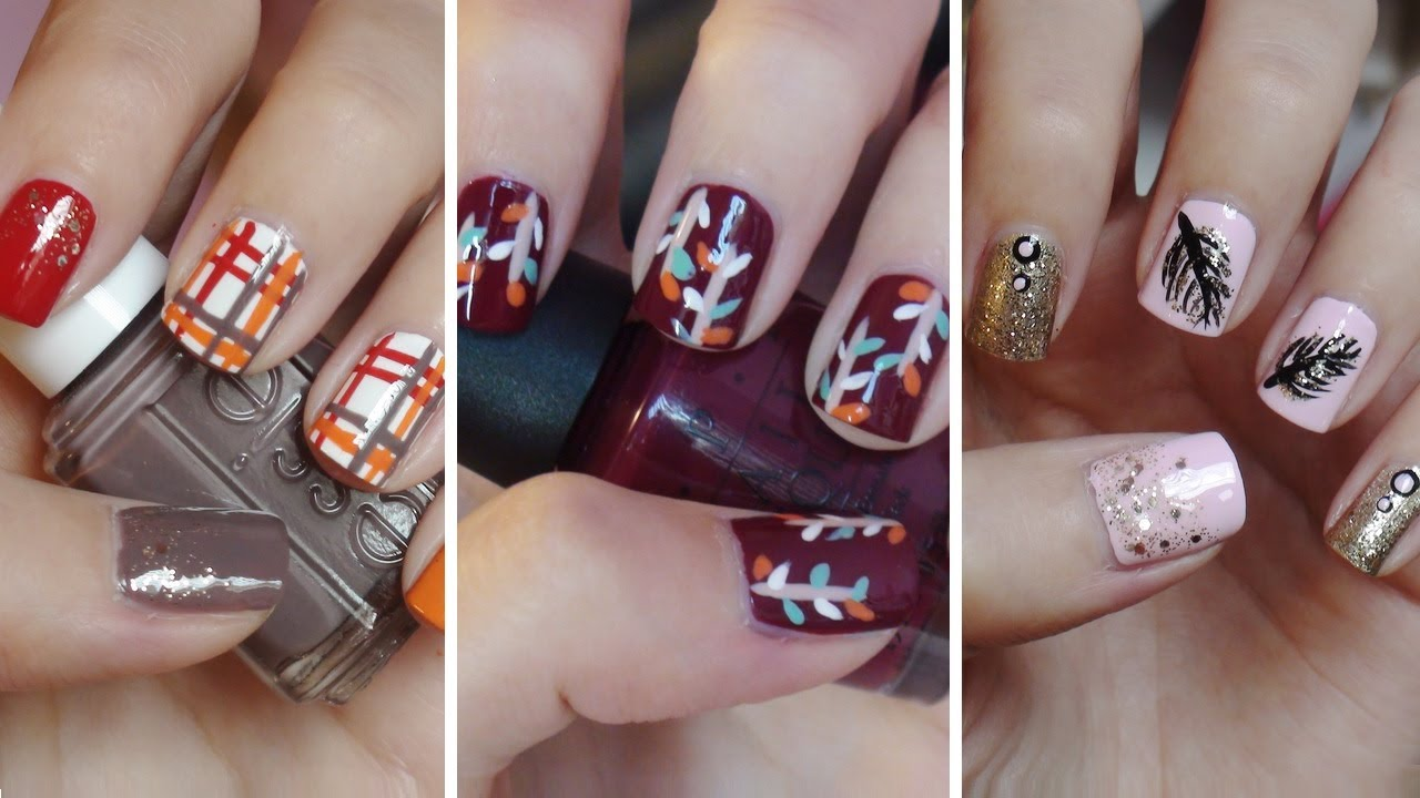 Fall Nail Art!!! Three Easy Designs! - YouTube