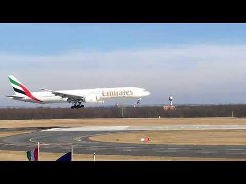 Emirates Boeing 777 land at Budapest Airport LHBP