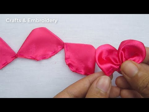 Hand Embroidery, Easy Ribbon Flower Making Idea, Ribbon Flowers
