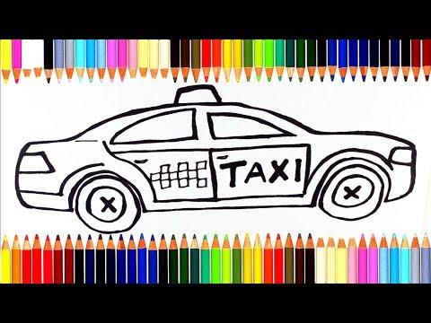 Как нарисовать Машинку Такси   Учим цвета с акварельными красками   Учимся рисовать и раскрашивать