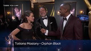 69th Emmys Thank You Cam: Tatiana Maslany and Jeffrey Dean Morgan