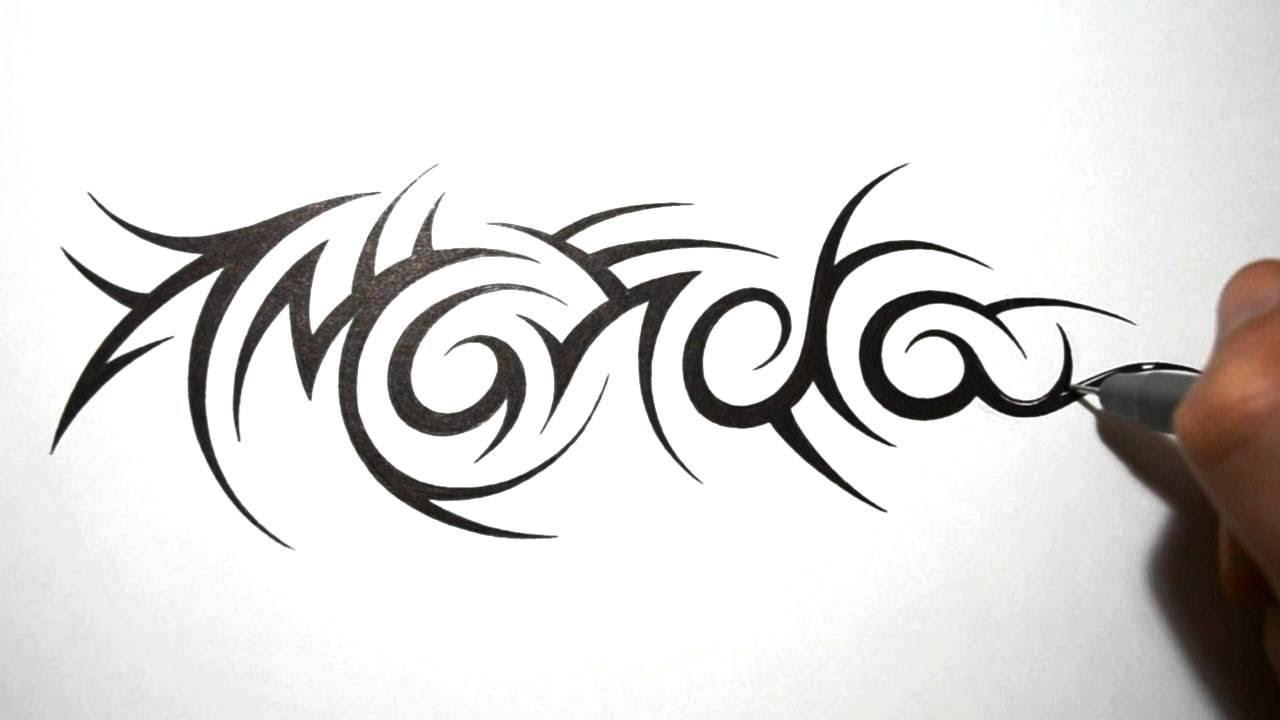 tribal name tattoos amanda youtube. Black Bedroom Furniture Sets. Home Design Ideas