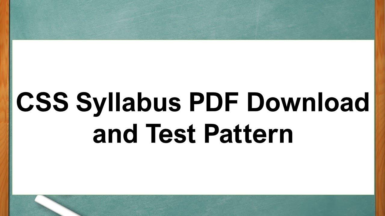 CSS Syllabus PDF Download and Test Pattern
