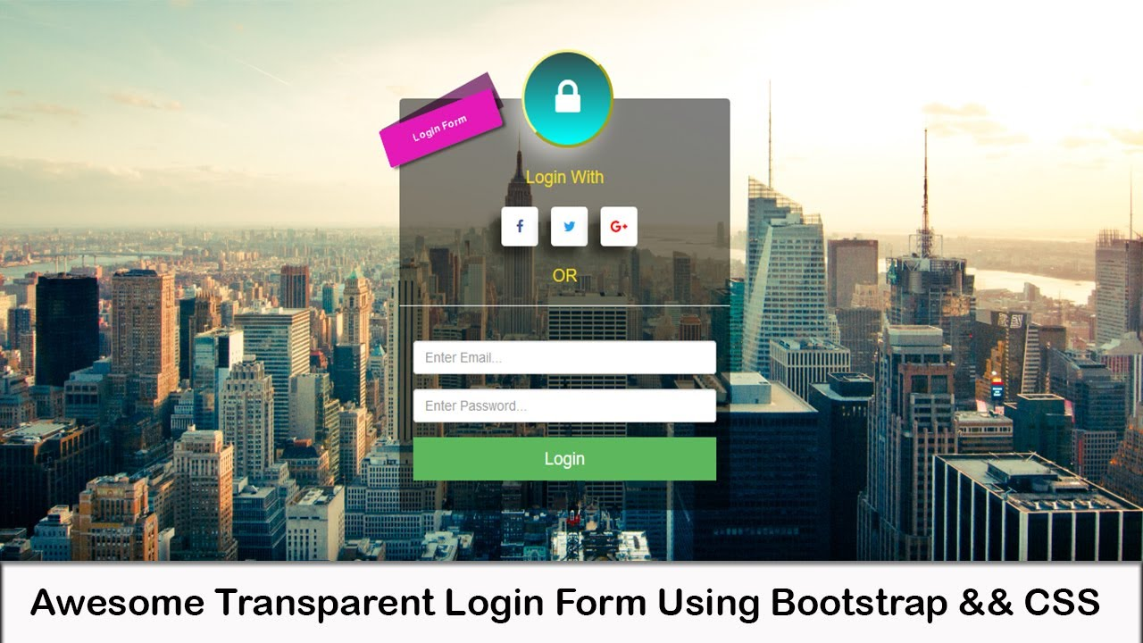 Bootstrap css amazing transparent login form youtube bootstrap css amazing transparent login form falaconquin