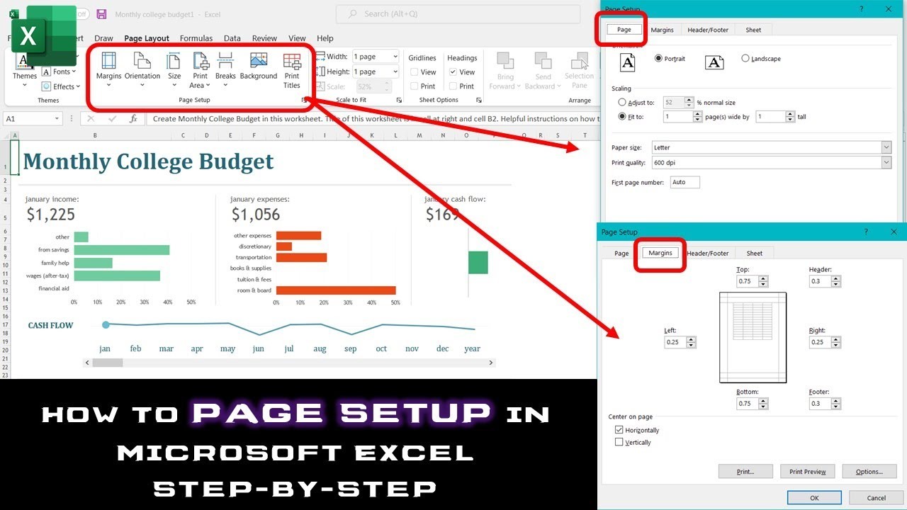 Page Setup and Printing Worksheets   Microsoft Excel 2016 Tutorial     Page Setup and Printing Worksheets   Microsoft Excel 2016 Tutorial   The  Teacher   YouTube