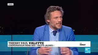 France 24. : le Débat Macron et les 'gilets jaunes'  avec Thierry Paul Valette et Marie Toussaint