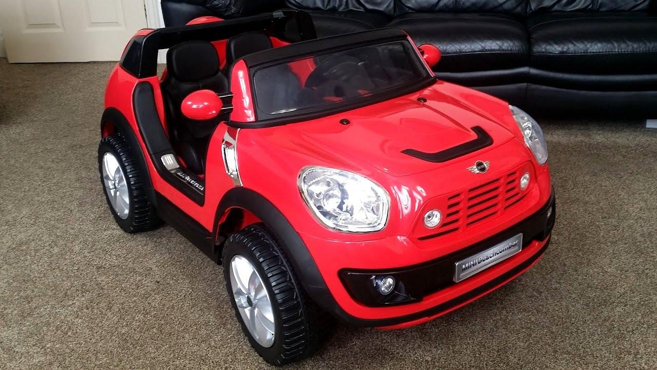 little girls play with bmw mini cooper beachcomber ride on car kids power wheels fun