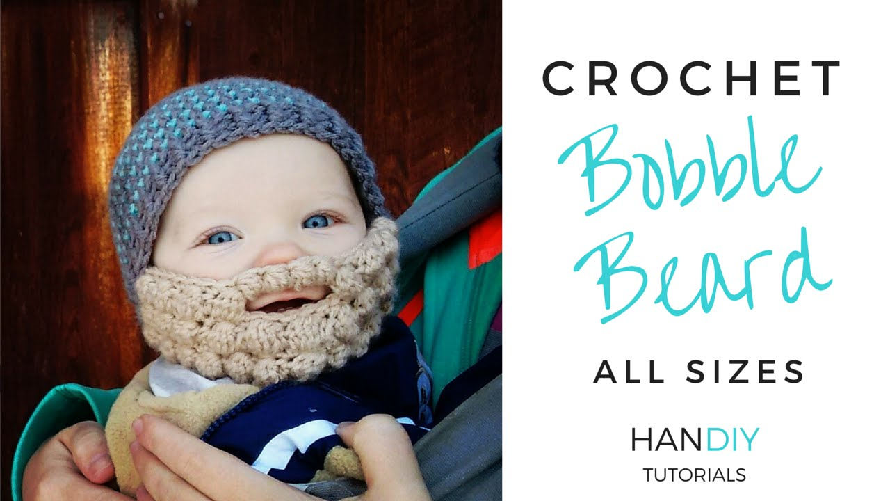 59fc18e0350 Easy Crochet Beard Tutorial (Free Bobble Beard Pattern All Sizes by ...