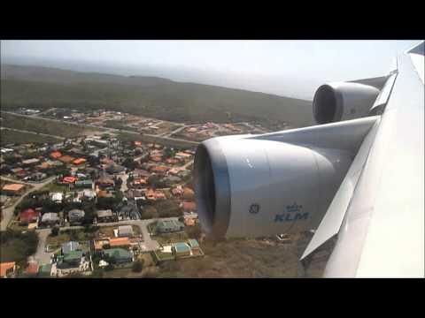 KLM 747-400 Amsterdam - Curacao Landing