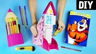DIYS INCRÍVEIS USANDO PAPELÃO 🏠✏️ Organizadores : Lápis, Canetas, Cadernos e Livros