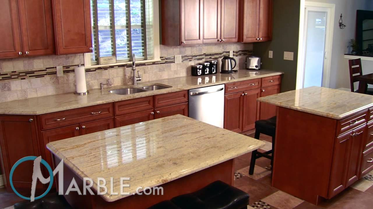 Ivory Gold Granite Kitchen Countertops | Marble.com   YouTube