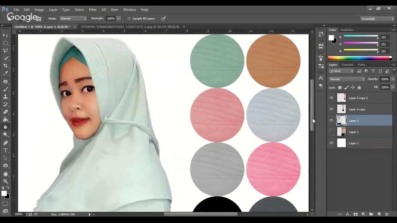 cara mudah Edit foto jilbab atau produk di photoshop - YouTube