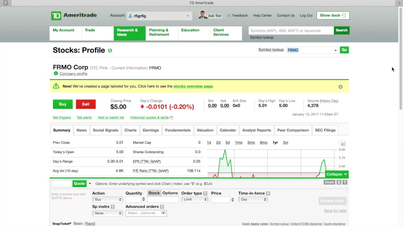 How To Find And Buy Penny Stock W Td Ameritrade 3 Min Youtube