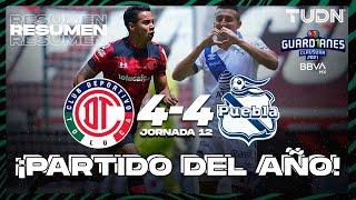 Resumen y goles   Toluca 4-4 Puebla   Torneo Guard1anes 2021 BBVA MX - J12   TUDN