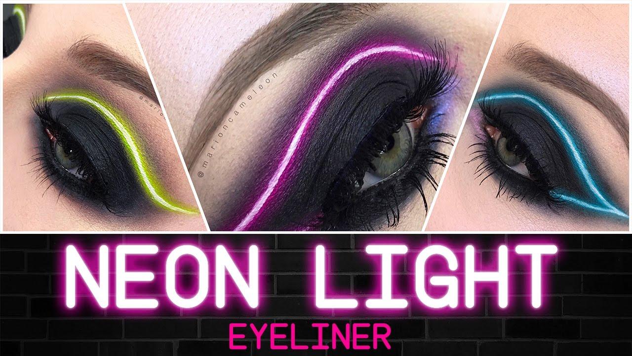 Neon Light Eyeliner Makeup Tutorial Franais English Youtube