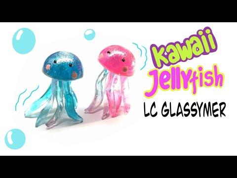 Flexible/jelly Charms- Glassymer- Kawaii Jellyfish- DIY