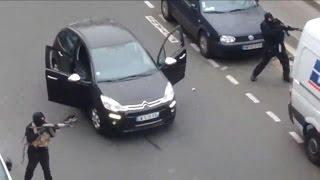 Charlie Hebdo: vidéo amateur de la fuite des tueurs