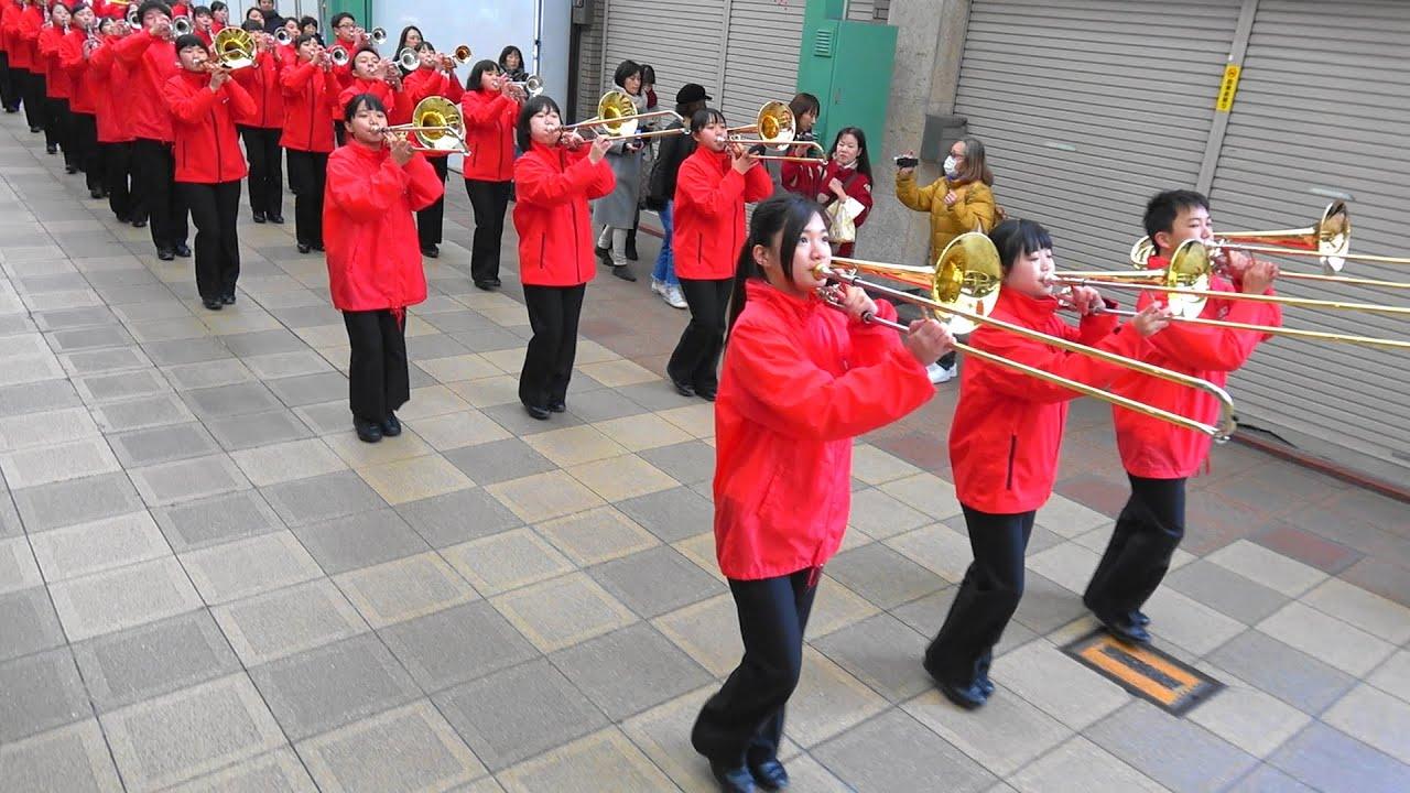 京都両洋高校吹奏楽部HERZ Kyoto Ryoyo Windband  HERZ 『110番の日』啓発パレード(Jan 10,  2018)