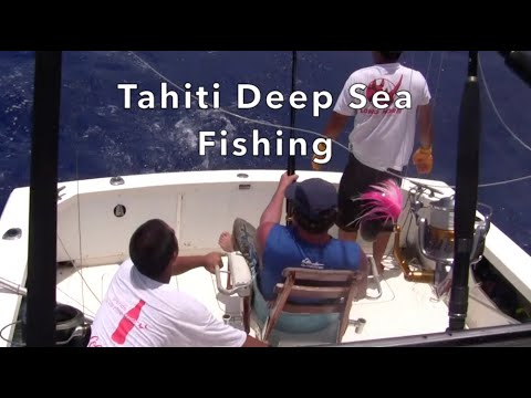 Deep Sea Fishing In The Tahitian Islands Of French Polynesia For Marlin, Yahoo, And Other Large Fish
