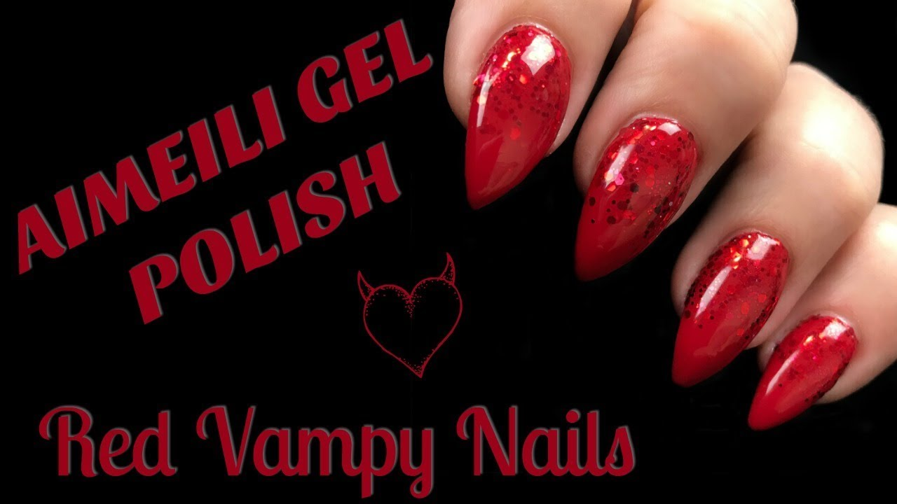 AIMEILI GEL POLISH | RED VAMPY NAILS - YouTube