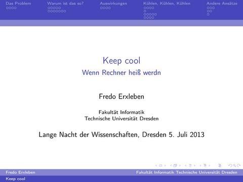 Keep cool - Wenn Rechner heiß werden - TU Dresden LNDW 2013