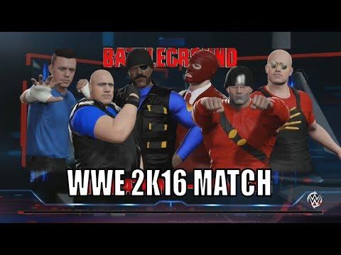 Scout, Heavy, Demoman Vs. Spy, Soldier, Engineer - WWE 2K16