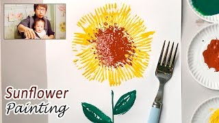 Fork Paint Sunflower Craft Idea   Easy Simple Painting for Kids