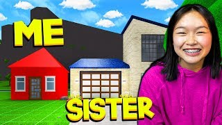 ROBLOX BLOXBURG MY SISTER VS ME BUILD OFF CHALLENGE!!