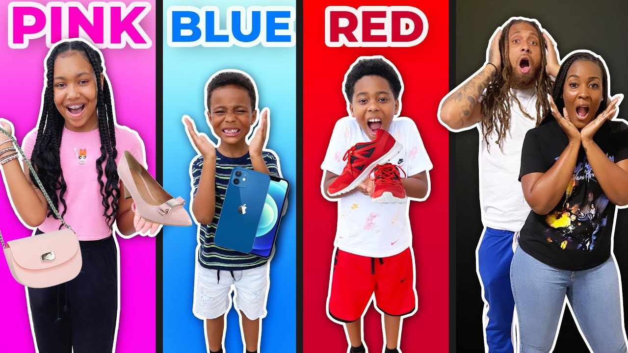 BUYING Our Kids EVERYTHING In ONE COLOR For 24 Hours CHALLENGE!