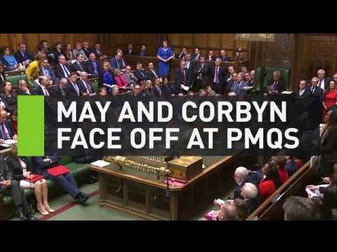 Theresa May and Jeremy Corbyn face off at PMQs