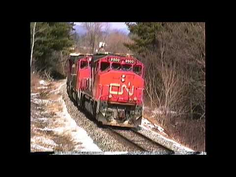 Canadian National GP40-2W's on a Central Vermont freight 03/09/1992