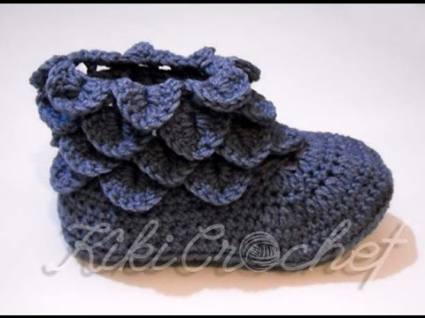 Crochet Crocodile Stitch Booties, Adult Size (pt1) - YouTube