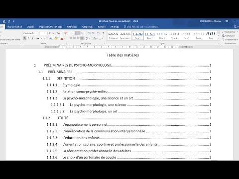 Creer Une Table Des Matieres Automatique Cours Word