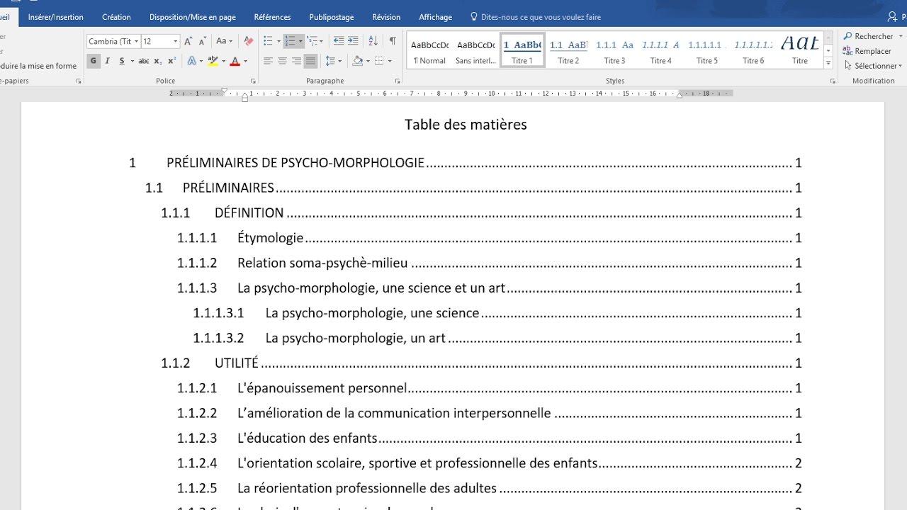 creer une table des matieres automatique cours word numerotation des titres styles