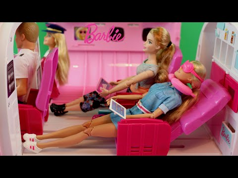 Barbie Travel Doll  & Accessories  Pink Airplane Glamour Jet Barbie Girls Go Holiday