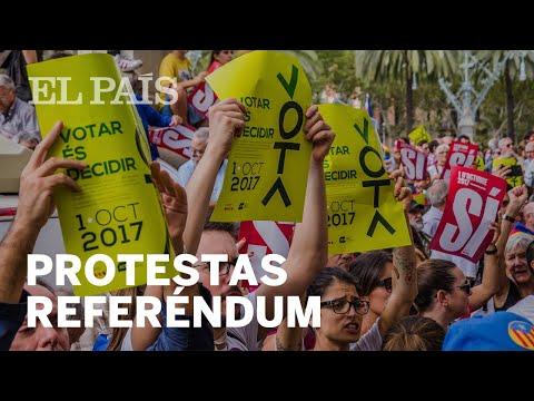 Protestas a favor del referéndum tras la detención de miembros del Govern   España