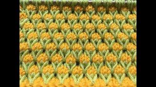 Двухцветный узор с вытянутыми петлями. Узор «Бутончики»
