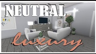 ☺️Neutral Luxury house + SECRET ROOM🤨/No-Multiple floor🤔/83k/Roblox/Bloxburg/Speed-build+tour